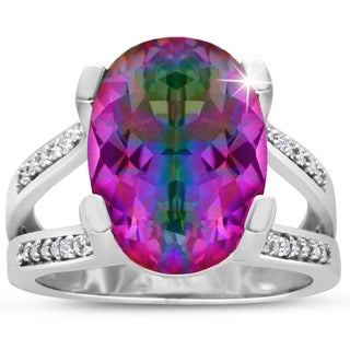 5 1/2 Carat Oval Shape Rainbow Amethyst and Diamond Ring In Sterling Silver