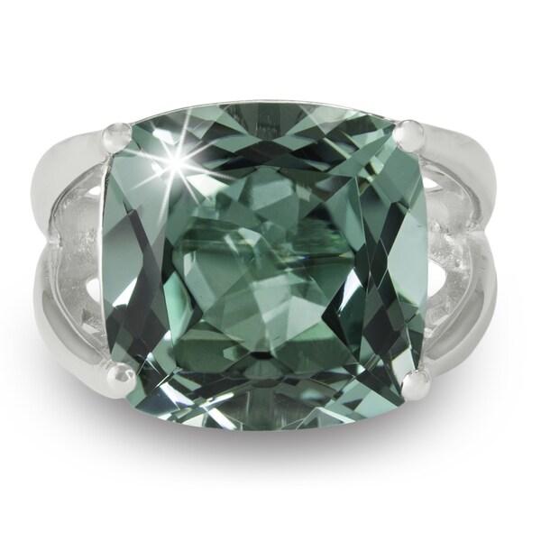 12 Carat Cushion Cut Green Amethyst Ring In Sterling Silver