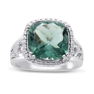 5 Carat Cushion Cut Halo Style Green Amethyst Ring In Sterling Silver