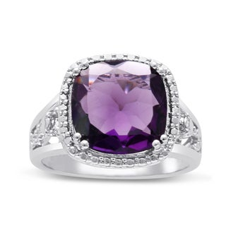 5 Carat Cushion Cut Halo Style Amethyst Ring In Sterling Silver