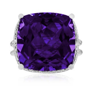 12 Carat Split Shank Amethyst and Diamond Ring