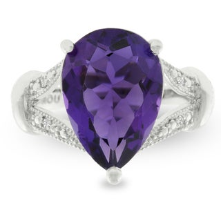 5 Carat Pear Shape Amethyst and Diamond Ring