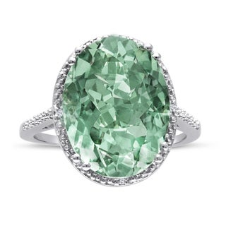8 Carat Oval Shape Green Amethyst and Diamond Ring In Sterling Silver