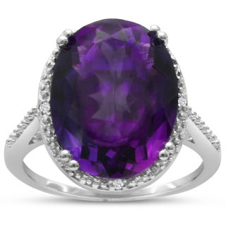 8 Carat Oval Shape Amethyst and Diamond Ring In Sterling Silver