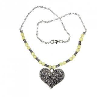 Handmade Tibetan Silver Filigreed Heart Necklace (China)