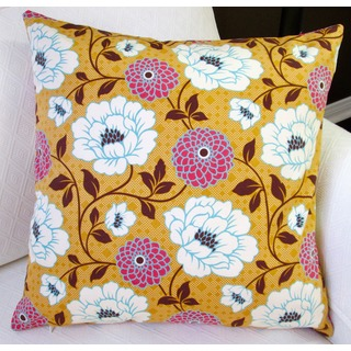 Artisan Pillows Indoor 20-inch Bungalow Dahlia in Honey Orange Flowers Modern Accent Throw Pillow Cover