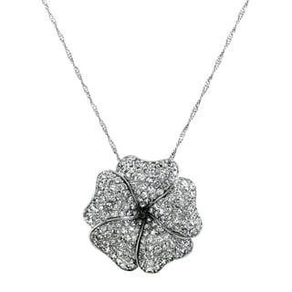 Brass CZ Pave Flower Necklace