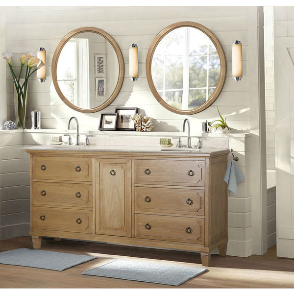 Weathered Light Brown Sink Vanity with Matching Mirror and Granite Top WLF6048+M (no faucet)