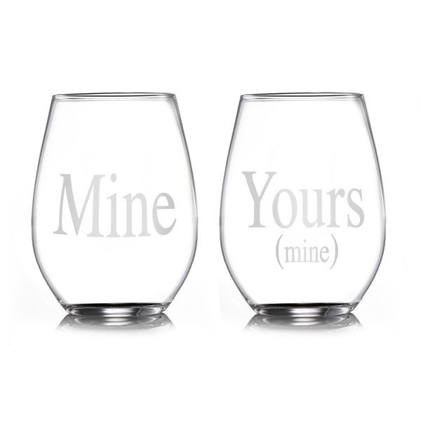 Style Setter Mine/ Yours Stemless Glasses (Set of 2)