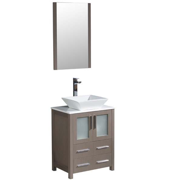 Fresca Torino 30-inch Grey Oak Modern Bathroom Vanity with Vessel Sink