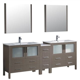 Fresca Torino 84-inch Grey Oak Modern Double Sink Bathroom Vanity with Side Cabinet and Integrated Sinks