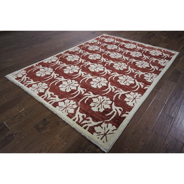 Oriental All Over Design Burgundy Gabbeh Hand-knotted Wool Area Rug (6' x 8')