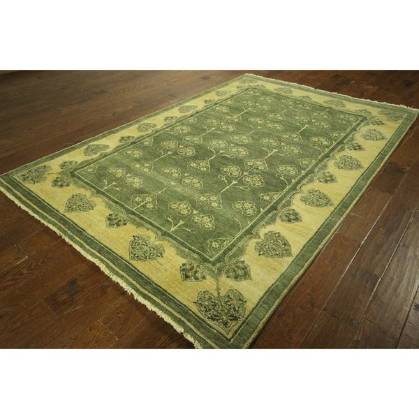 Chobi Quality Tree of Life Green Gabbeh Hand-knotted Wool Area Rug (6' x 9')