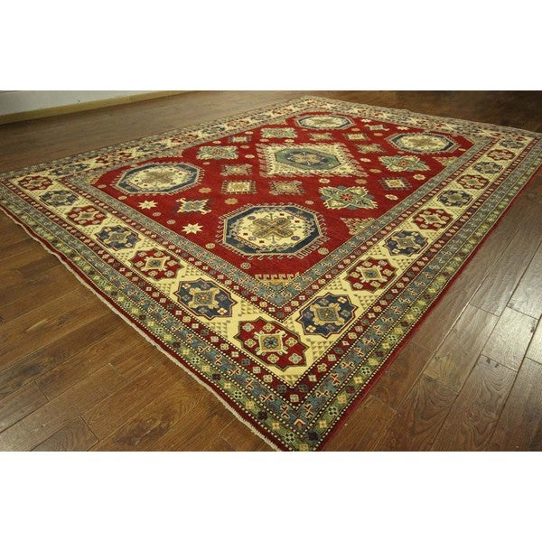 Diamond Motif Red Oriental Super Kazak Hand-knotted Wool Area Rug (10' x 14')
