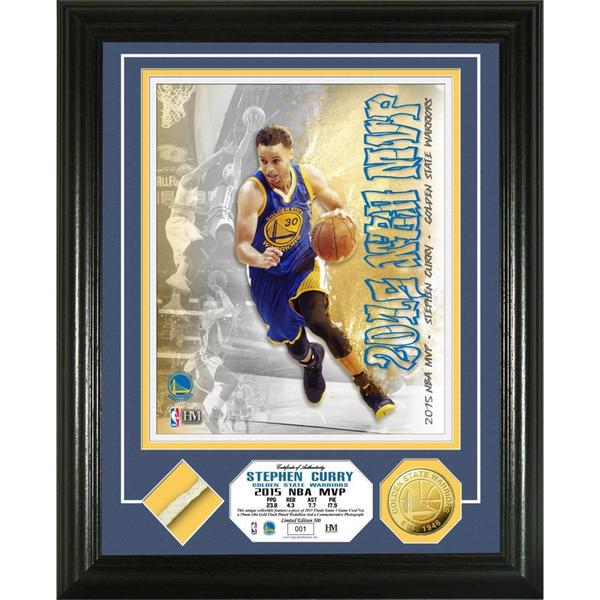Stephen Curry 2015 NBA MVP Game Used Net Gold Coin Photo Mint