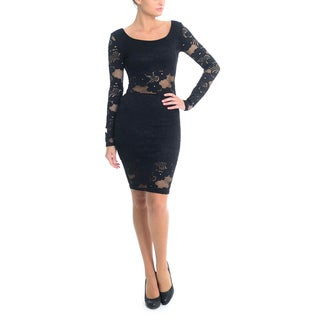 Sentimental NY Women's Stretch Embroidered Lace Long Sleeve Knee-length Dress