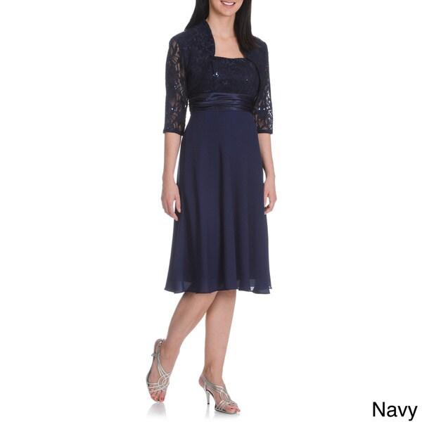 DFI Women's Spaghetti Strap Sequin Detail Bolero 2-piece Dress in Navy (As Is Item)