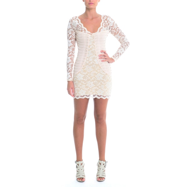 Women's Lace Ruched Side Panels V-Neck Mini Dress