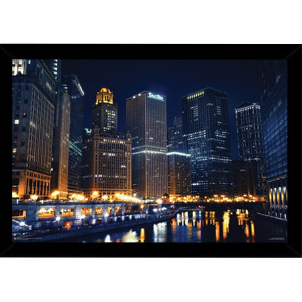 Chicago Nights (24-inch x 36-inch) with Contemporary Poster Frame