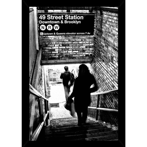 Subway Shadows Poster (24-inch x 36-inch) with Contemporary Poster Frame