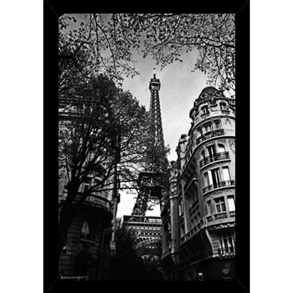 Eiffel Tower Black and White Poster (24-inch x 36-inch) with Contemporary Poster Frame