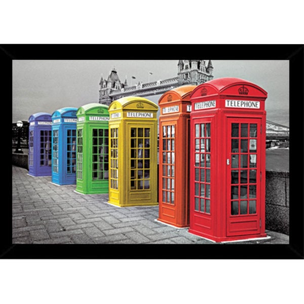 London Phoneboxes Colour Poster (24-inch x 36-inch) with Contemporary Poster Frame