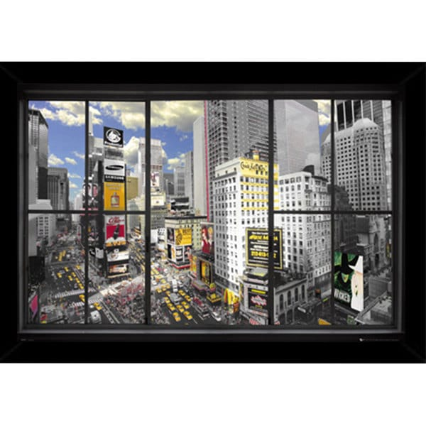New York Window Poster (36-inch 24-inch) with Contemporary Poster Frame