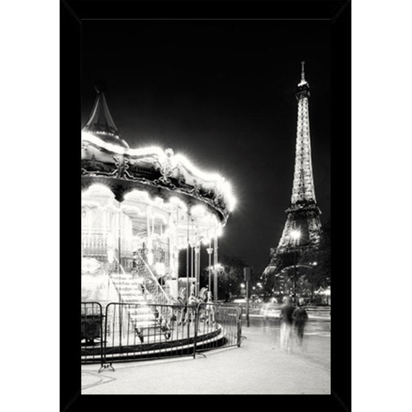 Paris Tower And Carousel Poster (24-inch x 36-inch) with Contemporary Poster Frame
