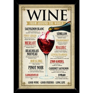 Wine Around the World Poster (24-inch x 36-inch) with Contemporary Poster Frame