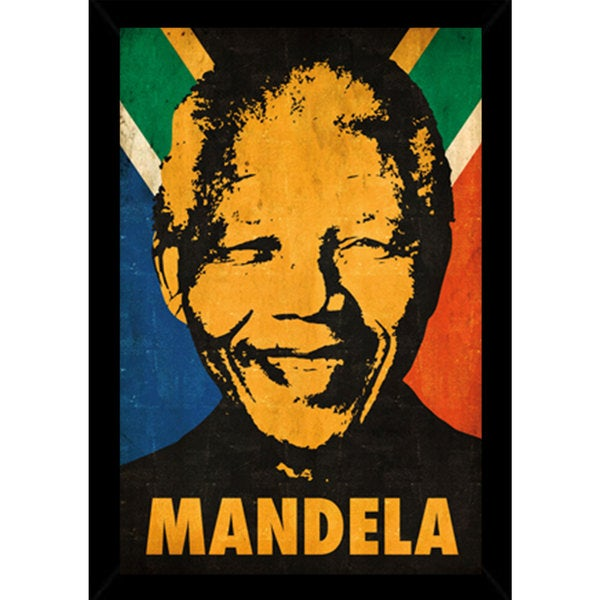 Nelson Mandela Stencil Poster (24-inch x 36-inch) with Contemporary Poster Frame