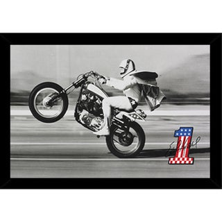 Evel Knievel Wheelie Poster (24-inch x 36-inch) with Contemporary Poster Frame