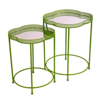 Moroccan Style Tray Tables With Mirror Tops (Set of 2)