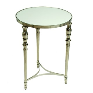22-inch Tall Round 3-Leg Mirror Top Metal Base Accent Table