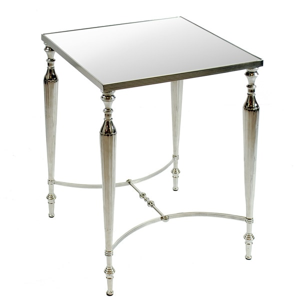 Mirror Top 23 Inch Tall Square Accent Table Metal Base