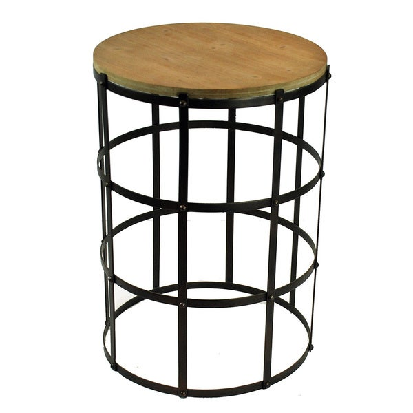 28-inch Tall Round Wood Top Metal Table