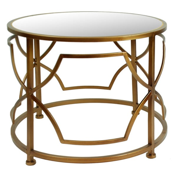 Steel Coffee Table Circles: 22-inch Antique Gold Metal Circle Round Accent Table