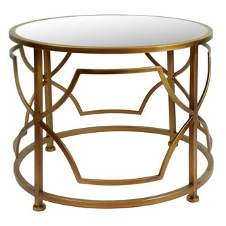 22-inch Antique Gold Metal Circle Round Accent Table