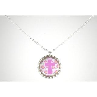 Be The Envy Lavender Cross Bottle Cap Necklace