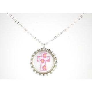 Be The Envy Pink Floral Cross Bottle Cap Necklace
