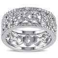 Miadora Sterling Silver 1/8ct TDW Diamond Ring  (G-H, I2-I3)