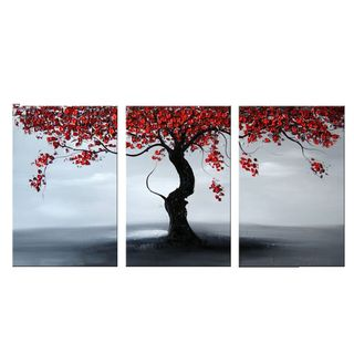 """Design Art 'Falling Leaves' Oil Painting 48"""" x 24"""" - 3 Piece"""