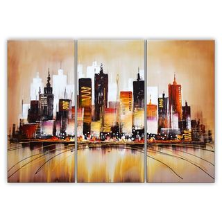 Design Art 'Brown Cityscape' Oil Painting - 55 x 32in 4 panels