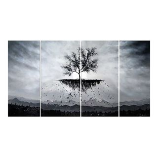 Design Art 'Roots Run Deep' Black and White Tree Painting - 56 x28 - 4 Piece
