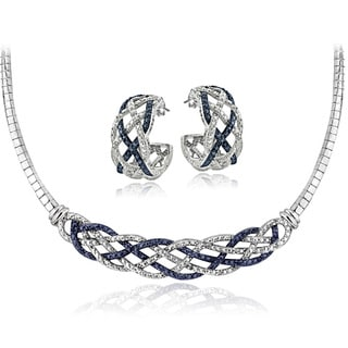DB Designs Silvertone 1/2ct TDW Blue & White Diamond Weave Omega Necklace and Earrings Set