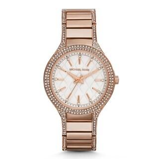 Michael Kors Women's Kerry Diamond White Designed Dial Rose-Tone Gold Stainless Steel Bracelet Watch MK3348