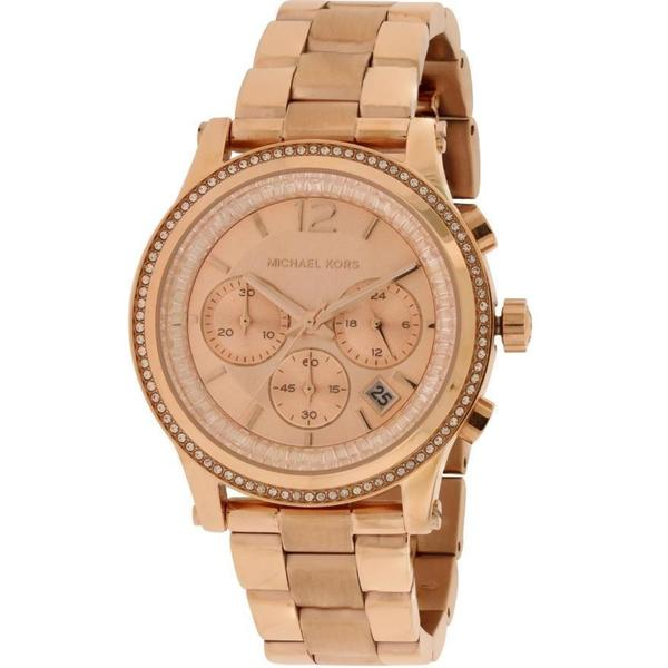 Michael Kors Women's Heidi Diamond Chronograph Rose-Tone Gold Stainless Steel Bracelet Watch MK6064