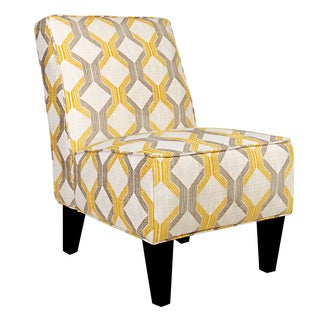 angelo:HOME Dover Modern Deco Yellow-Taupe Tilework Armless Chair