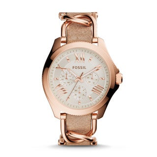 Fossil Women's Cecile Multi-Function Beige Dial Beige Leather Watch AM4620