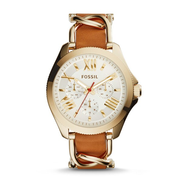Fossil Women's Cecile Multi-Function White Dial Brown Leather Watch AM4619