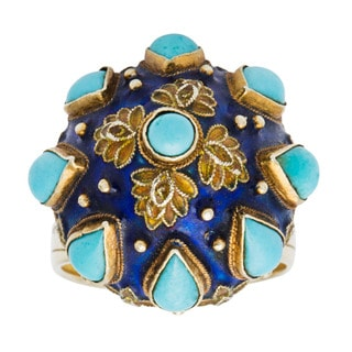 14k Yellow Gold Turquoise and Enamel Antique Estate Cocktail Ring (Size 7.25)